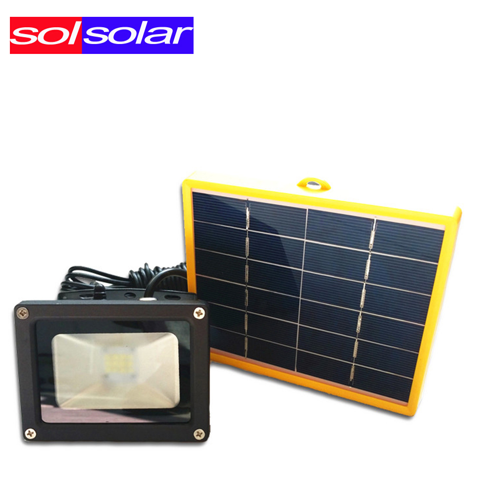 waterproof 10w solar powered led flood light with 5m wire. Black Bedroom Furniture Sets. Home Design Ideas