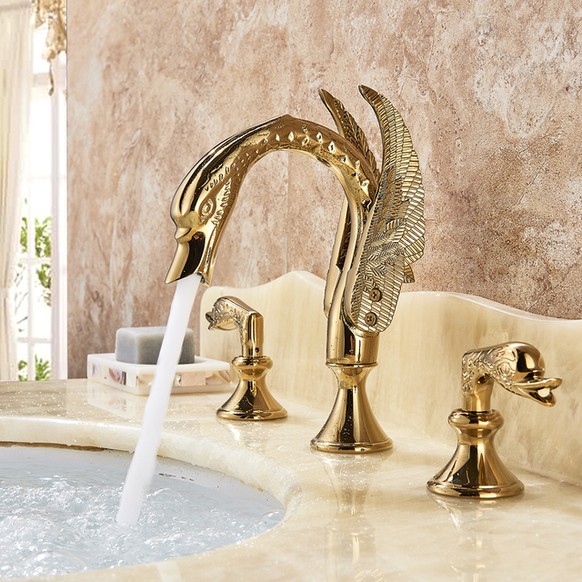 Luxury Bathroom Faucet Brass Gold Finish Golden Swan Shape Basin Tap Dual  Handle Deck Mount Mixer