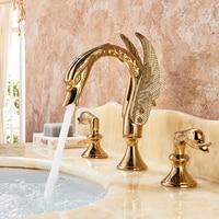Luxury Bathroom Faucet Brass Gold Finish Golden Swan Shape Basin Tap Dual Handle Deck Mount Mixer Tap Sink Faucets