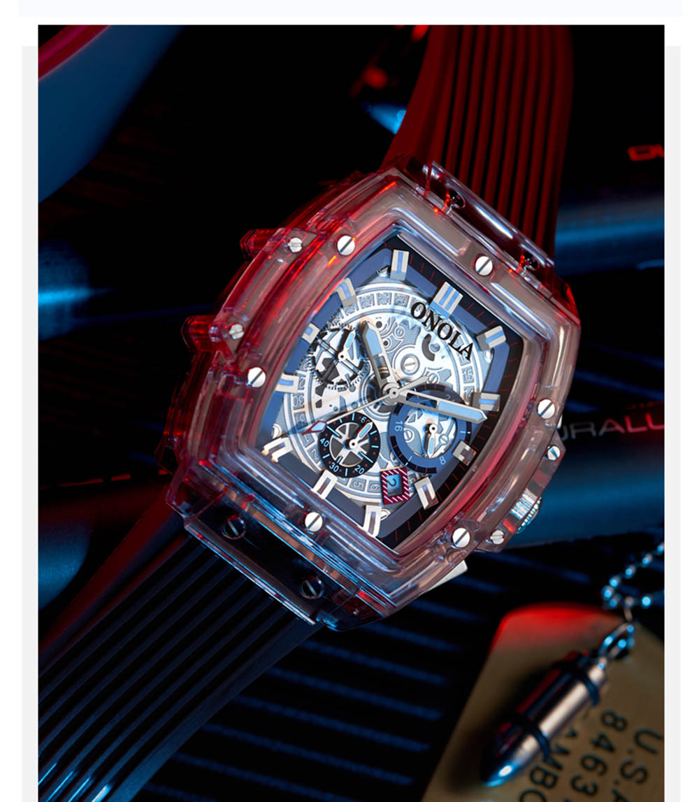 HTB1n1qnXBv0gK0jSZKbq6zK2FXaJ luxury mens wristwatches Transparent quartz waterproof Multifunction man watches square white fashion clocks