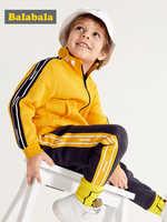 Balabala enfants garçon 2 pièces sweat à capuche avec fermeture éclair à capuche veste avec col montant + pantalon élastique ensemble enfants bambin printemps vêtements ensemble