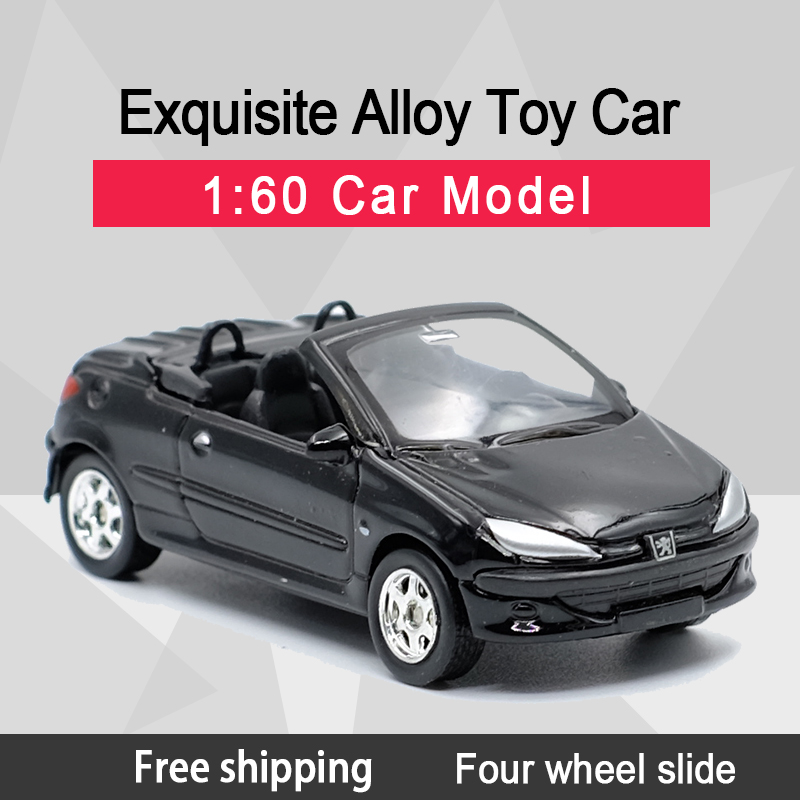 New Arrival WELLY 1:60 PEUGEOT 206 CC Alloy Diecast Car Model Toy For Children Gifts Toy Collection