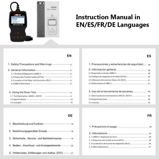Ancel AD310 OBD2 Automotive Scanner OBD Car Diagnostic Tool in Russian Code Reader ODB2 Scanner OBDII OBD 2 ODB PK ELM327 v1.5