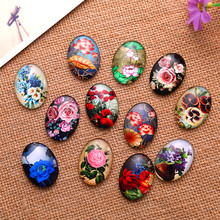 50Pcs Multicolor Flower Pattern Oval Glass Cameos Cabochons Dome Seals Embellishments Crafts Making 14x10mm