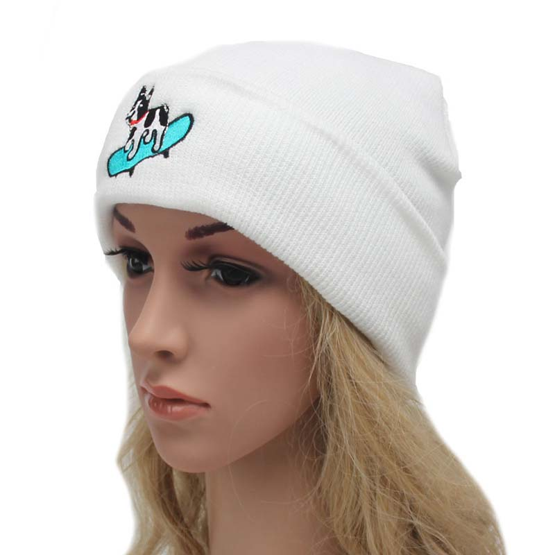 Casual Women's Cotton Hat Skullies Cap Accessories Skateboard Cute Dog Knit Headgear Winter Warm Elastic Beanies Hats for Men skullies