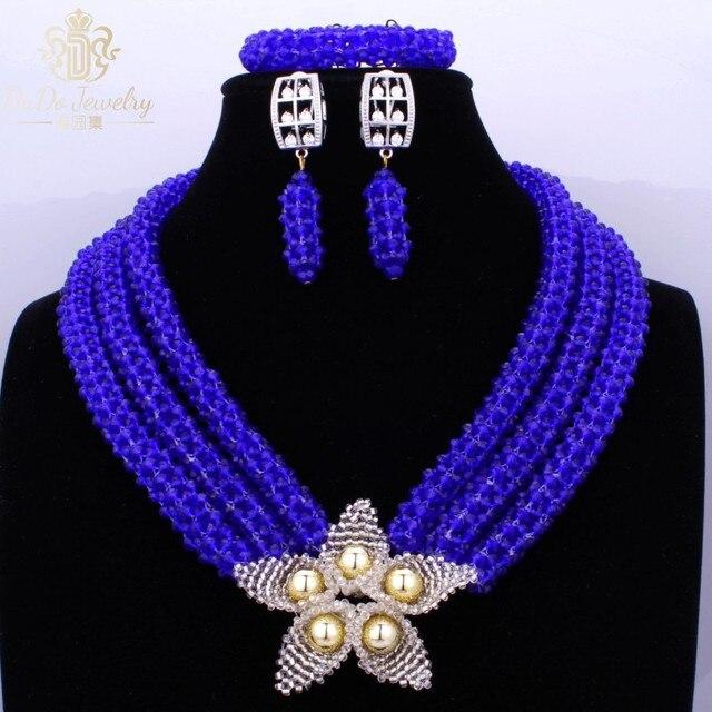 77bcfa8fc7db1 2018 Latest Royal Blue Nigerian African Wedding Beads Jewelry Sets ...