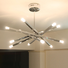 Fashion personalized chrome iron 12*G4 led bulb chandeliers American loft DIY home deco living room chandeliers lighting fixture