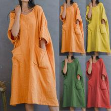 Women Solid Half Sleeve Pocket Current Chic Cotton Linen Loose Casual Knee-length Dress недорого