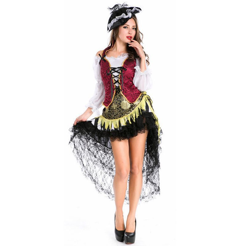 Gothic victorian dress pirate costume female halloween costumes disfraces adultos haloween medieval disfraces halloween witch ruffles 2029 gaess medieval dress costume cartoon character costumes dress medieval dress