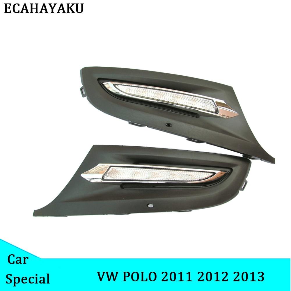 ECAHAYAKU 1 Set LED DRL feux de jour phare voiture LED style 12 v ABS couvercle de feux de brouillard pour Volkswagen Polo 2011 2012 2013