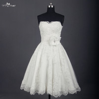 RSW745 Short Wedding Dresses Knee Length Lace Ivory Simple Vintage Wedding Gown Bride Dress Bridal Gown