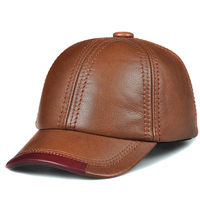 Spring genuine cow leather baseball cap hat men's brand new style winter warm thick caps hats foe man one size*harppihop
