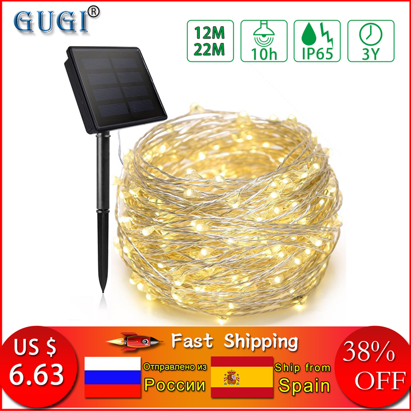 12m/22m Led Solar String Light Copper Wire Lamp Outdoor Solar Fairy Lights Christmas Garland String Light For Wedding Garden