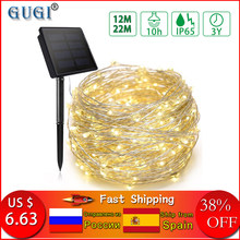 12 m/22 m Led Solar String Light Koperdraad Lamp Outdoor Solar Kerstverlichting Kerst Guirlande Snaar Licht voor Wedding Garden(China)