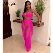 Fluorescence 2 Piece Set Woman Cut Out Spaghetti Straps Bodysuit Swimwear+ Ruffle Sheer Mesh Open Crotch Pants Night Tracksuit cut out mesh sheer slip babydoll