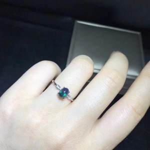 Image 2 - Đơn giản và tinh tế, tự nhiên màu đen Opal ring, đá quý hiếm, 925 Bạc