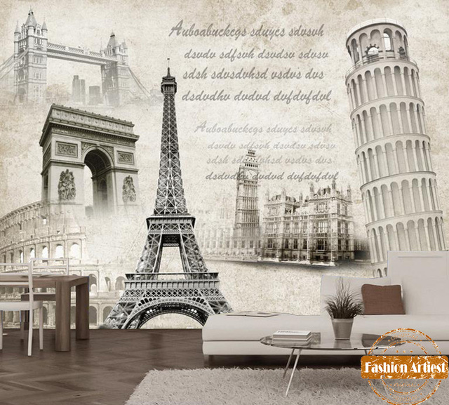 Custom Vintage Europe Poster Wallpaper Mural Paris Arch Of Triumph Paris  Eiffel Tv Sofa Bedroom Living