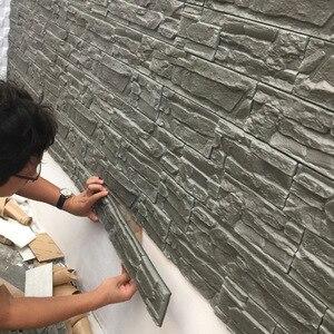 Adhesivo 3D retro para pared de sala de estar impermeable FONDO DE TV papel tapiz espuma diseño de ladrillo papel tapiz autoadhesivo de grano de piedra