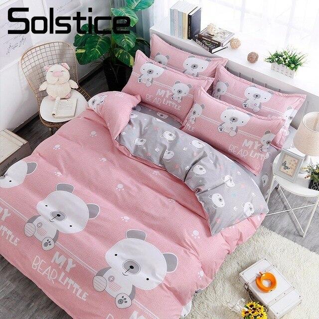Solstice Home Textile Little Bear Kid Child Girls Bedding Set Gray Pink Duvet Quilt Cover Pillowcase Flat Sheet Bed Linens Queen