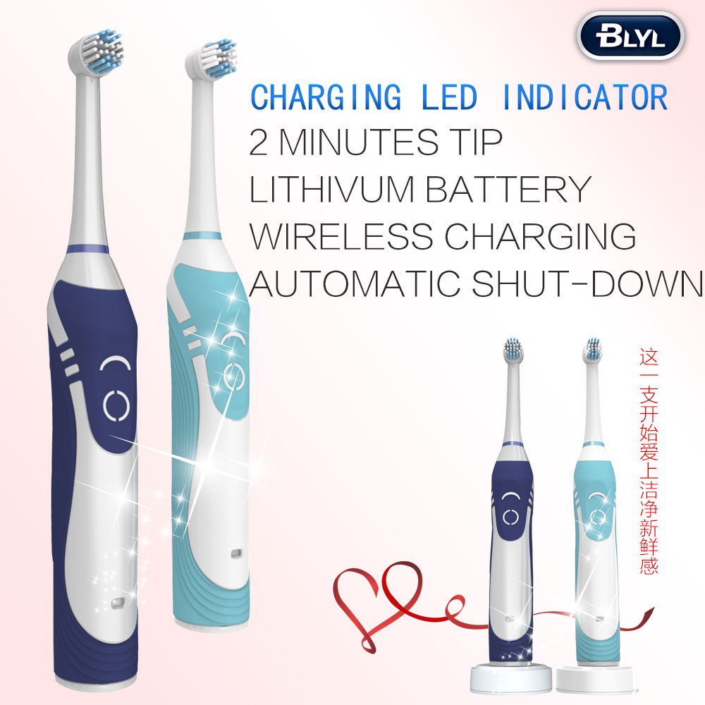 Rotation Rechargeable Adult Electric Toothbrush With 2 Minutes Reminder And 2 Brush Heads