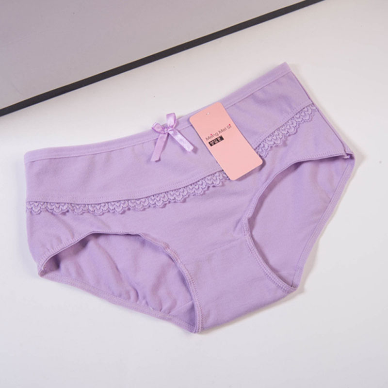 Women's Breathable Skin-friendly Underwear Women Brief Girls Solid Lace Bow Panties