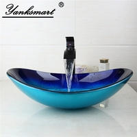 New Luxury Bathroom Sink Washbasin Tempered Glass Hand Painted Black Oil Rubbed Waterfall Sink Tap Brass