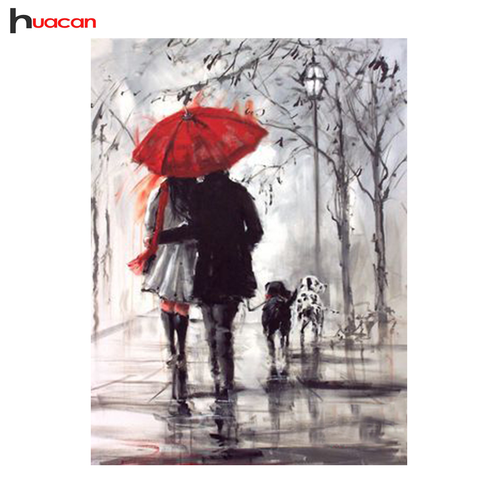 3d زوجين مظلة الماس اللوحة diy الماس - الفنون والحرف والخياطة