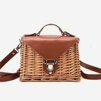 Women's woven handbags leather Square Bali Island Straw ladies Crossbody Bag shoulder bags summer bolsa feminina