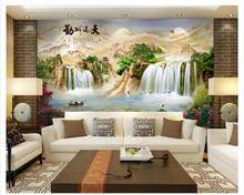 beibehang Classic fashion three-dimensional modern silky wallpaper landscape waterfall TV sofa full house wall papers home decor