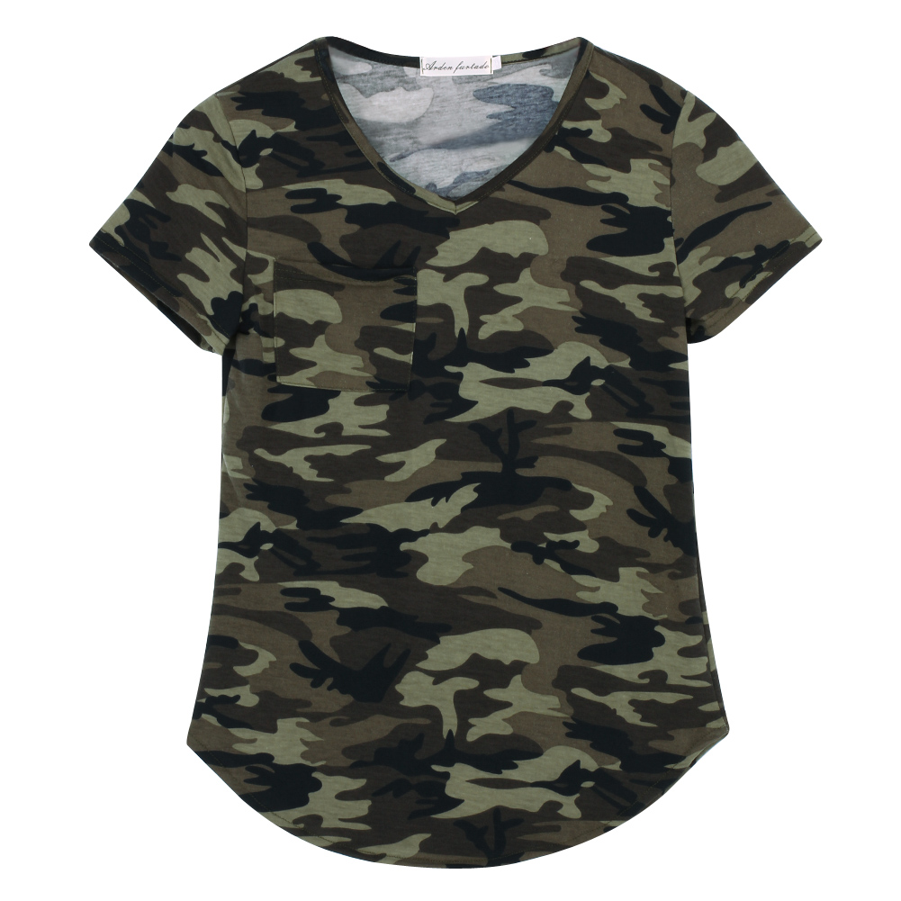Women Camouflage Pocket T Shirts Army Print Clothes Short