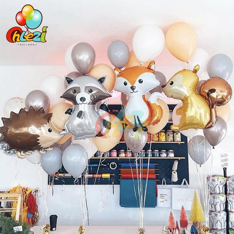 1 шт. лес воздушные шары из фольги в виде животного с рисунком лисы Ежик белка енот День рождения украшения Воздушный шар с гелием Baby Shower игру...