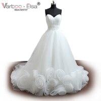 VARBOO_ELSA Wit Tulle Sweetheart Romantische Trouwjurk 3D Bloemen Kralen Bruidsjurk Strapless A-lijn Wedding Gown 2018 Custom