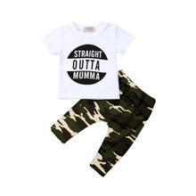 FOCUSNORM Infant Newborn Kid Baby Junge Mode T-shirt Top + Camouflage Hosen Hosen Entzückende Outfit Kleidung Set 6M-3Y(China)