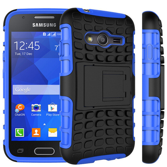 Heavy Duty Couverture Stand Case Pour Samsung Galaxy Ace 4 Lite Duos G313M Neo G318H G318ML Absorption Des Chocs Couvrir Dur Silicone