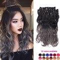 8 pçs/lote 18 polegada preto e cinza ombre cabelo brasileiro onda corpo sintético cabeça cheia grampo no cabelo extensions weave resistente ao calor