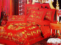 Wedding Bedding Silk Woven Damask Silks And Satins Bed Sheets Duvet Cover Piece Set Five Pieces
