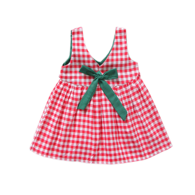 Girls Dress 2018 Summer New Toddle Baby Girl Clothes Dresses Bow Sleeveless Red Black Plaid Dress Girls For 3-10 Years