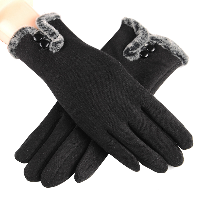 Fashion Women Winter Gloves Phone Touch Screen Outdoor luva inverno Gloves Trendy Wrist Mittens Bottons Warm Ladies Gloves