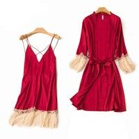 Sexy Lace Women Robe Set Backless 2PCS Cami+Robe Sleep Suit Kimono Bathrobe Dress Deep V Neck Strap Nightdress Nightgown M XL