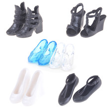 1Pair/2pcs Imitation Fairy Tale Crystal Shoes Colorful High Heel Sandals For Barbie Doll Clothes Dress DIY Accessories Kids Toys(China)