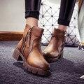 Новая Мода PU Кожа Повседневная Молнии Зима Снег Ботильоны Женские Низкий Стек Каблуки Обуви