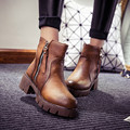 New Fashion PU Leather Casual Zipper Winter Snow Ankle Boots Womens Low Stack Heels Shoes