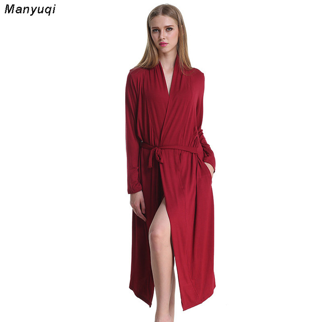 Red Modal Bathrobe Women Kimono Long Robe Lounge Wear Sexy Bathrobes