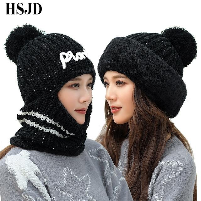 Hats Balaclava Winter Knitted Beanie Hat Neck Warmer Womens Hats Female Fashion Sequins Multi Functional Skullies Beanies Caps