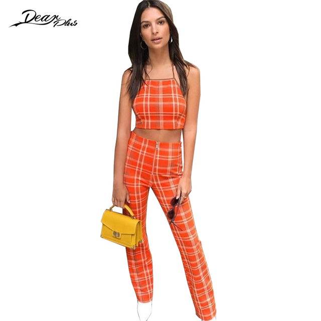 755e80b84ef1 Plaid Print Croped Tank Top and High Waist Pants Set Women Autumn 2 Piece  Set 2017 Sexy Backless Tops and Straight Pants Suit