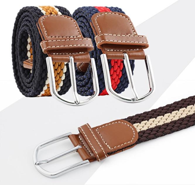 Fashion 15 color Elastic Stretch Waist Belt Canvas Stretch Braided Elastic Woven Leather Belt Hot Metal Stretch Belt Men / women