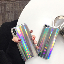 Luxury Glitter Gradient Colorful Blue Ray Phone Case For Apple iphone X Soft Silicone Back Cover for iPhone 8 7 6 6S Plus Coque