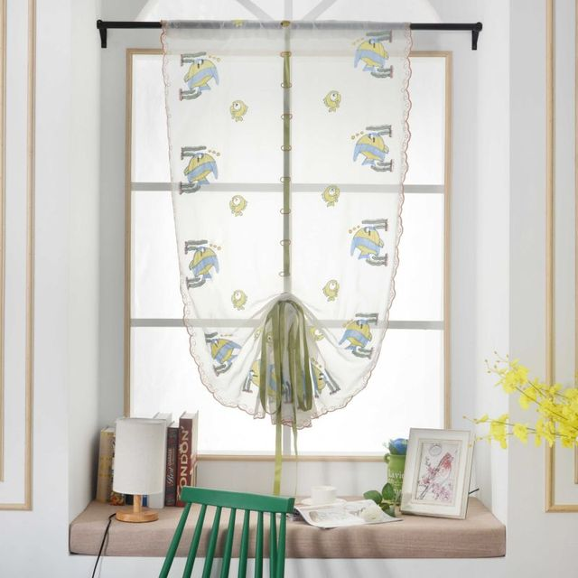 Window Sheer Voile Tulle Roman Curtains Bedroom Living Room Balcony Plum  Cute Fish Embroidered Tube Curtain