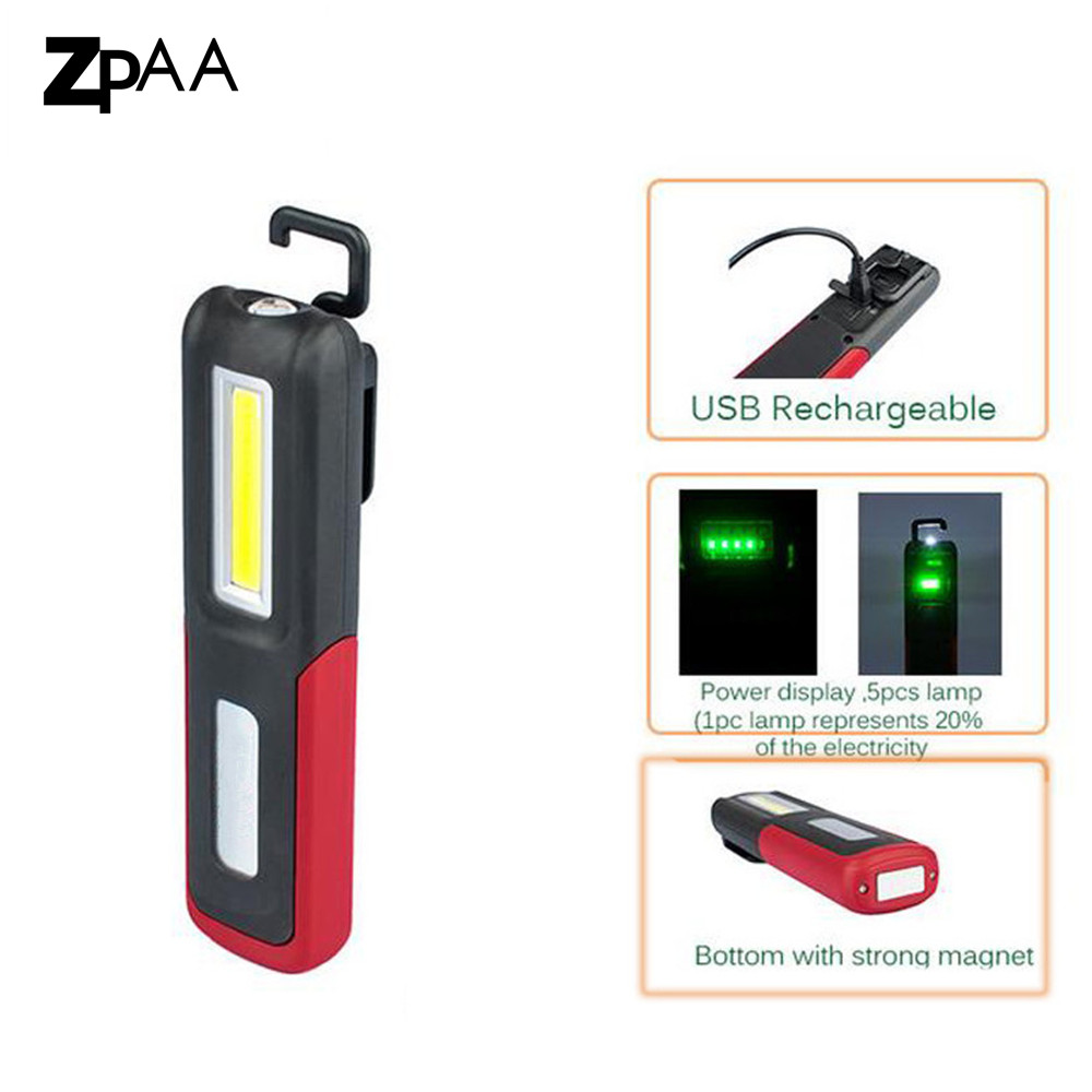 ZPAA 2017 Portable COB LED Flashlight Magnetic Work Light USB Rechargeable Lantern Built-in battery Lamp Night Lighting zpaa 2017 portable 3w cob led camping work inspection light lamp usb rechargeable pen light hand torch with usb cable