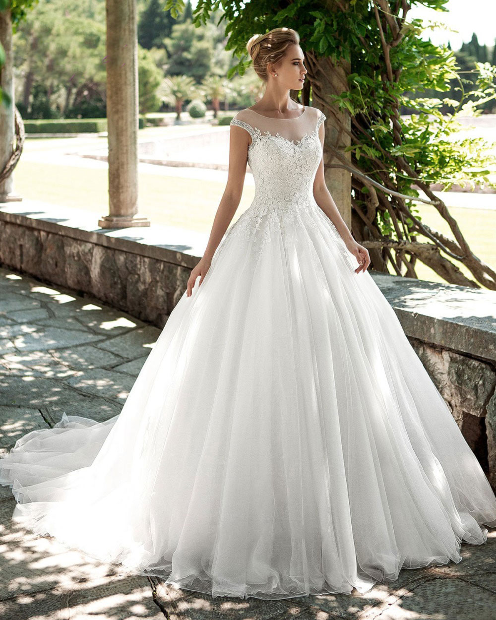 Wedding Gowns With Cap Sleeves: Elegant White A Line Wedding Dresses With Beaded Cap